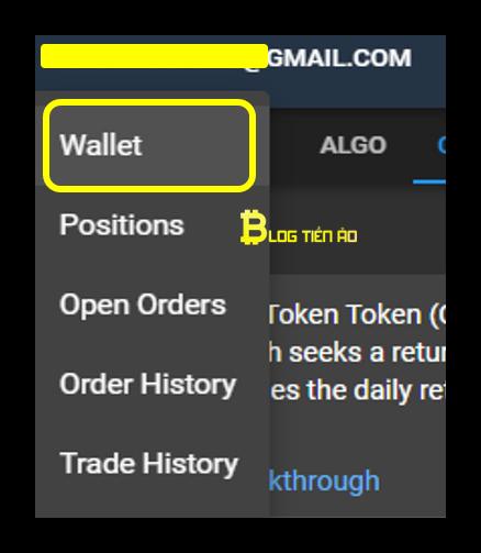 Klik op de optie om portemonnee op ftx te selecteren