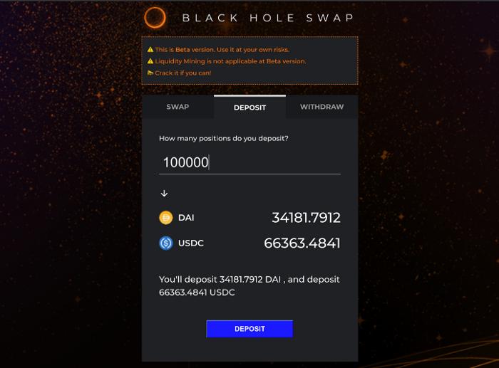 去游泳池看看在blackholeswap中dai usdc的比率
