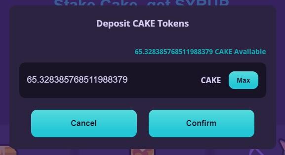 Deposit cake token