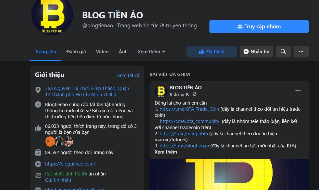 fanpage blog tiền ảo