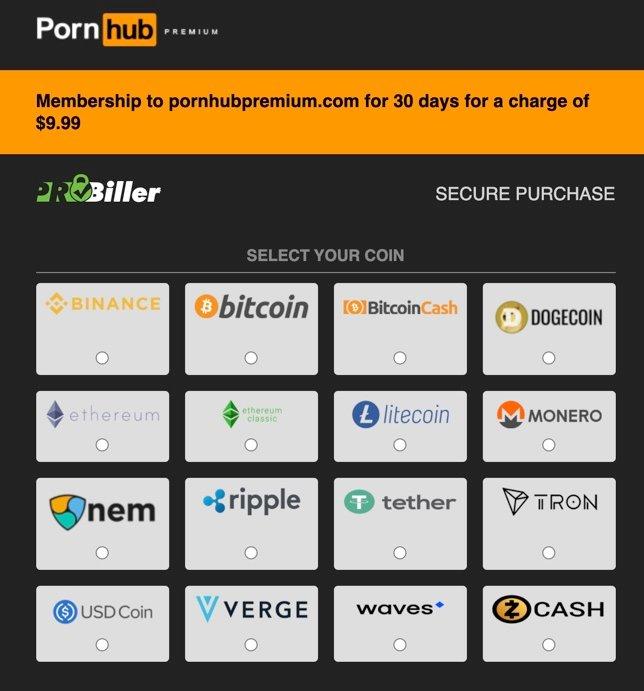 ondersteuningslijst voor pornhub crypto-betalingen