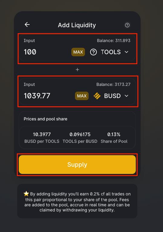 thêm thanh khoản cho tools busd