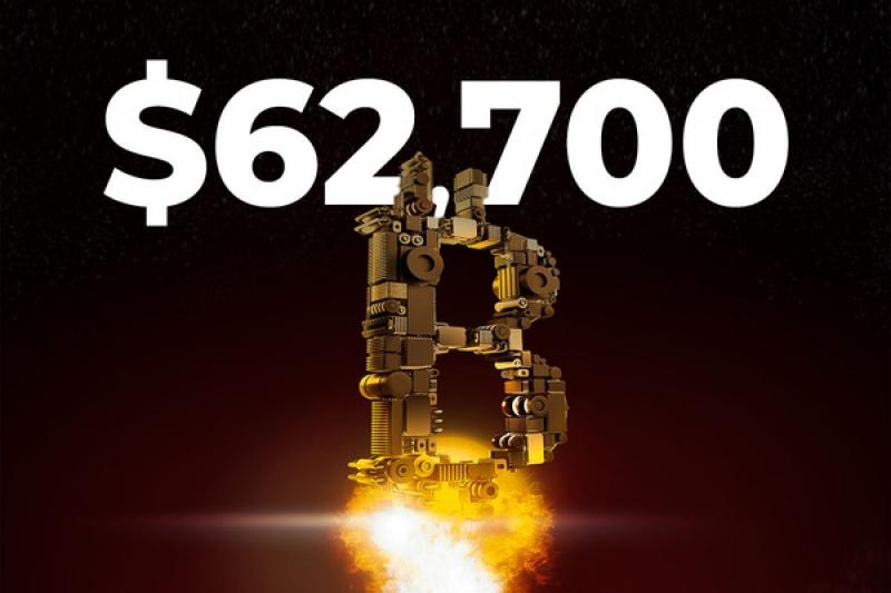 Bitcoin ilipata kiwango cha juu cha $ 62,700