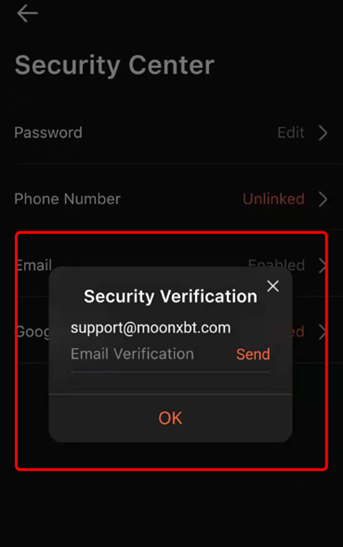 confirm mail 2fa moonxbt