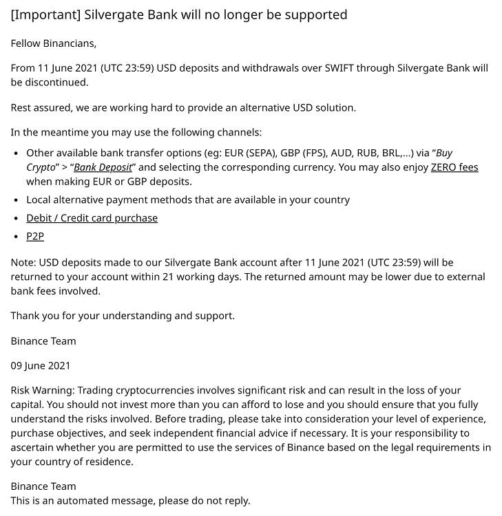 silvergate ngừng hợp tác với binance