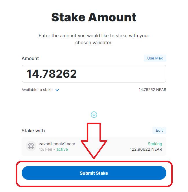 submit stake - huong dan stake near